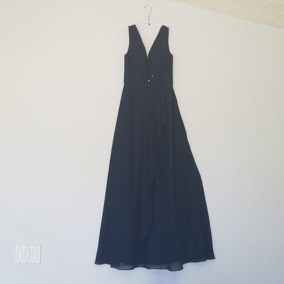 Dresses Navy Blue Gown Prom Dress Size Medium Lace Crystal Poshmark